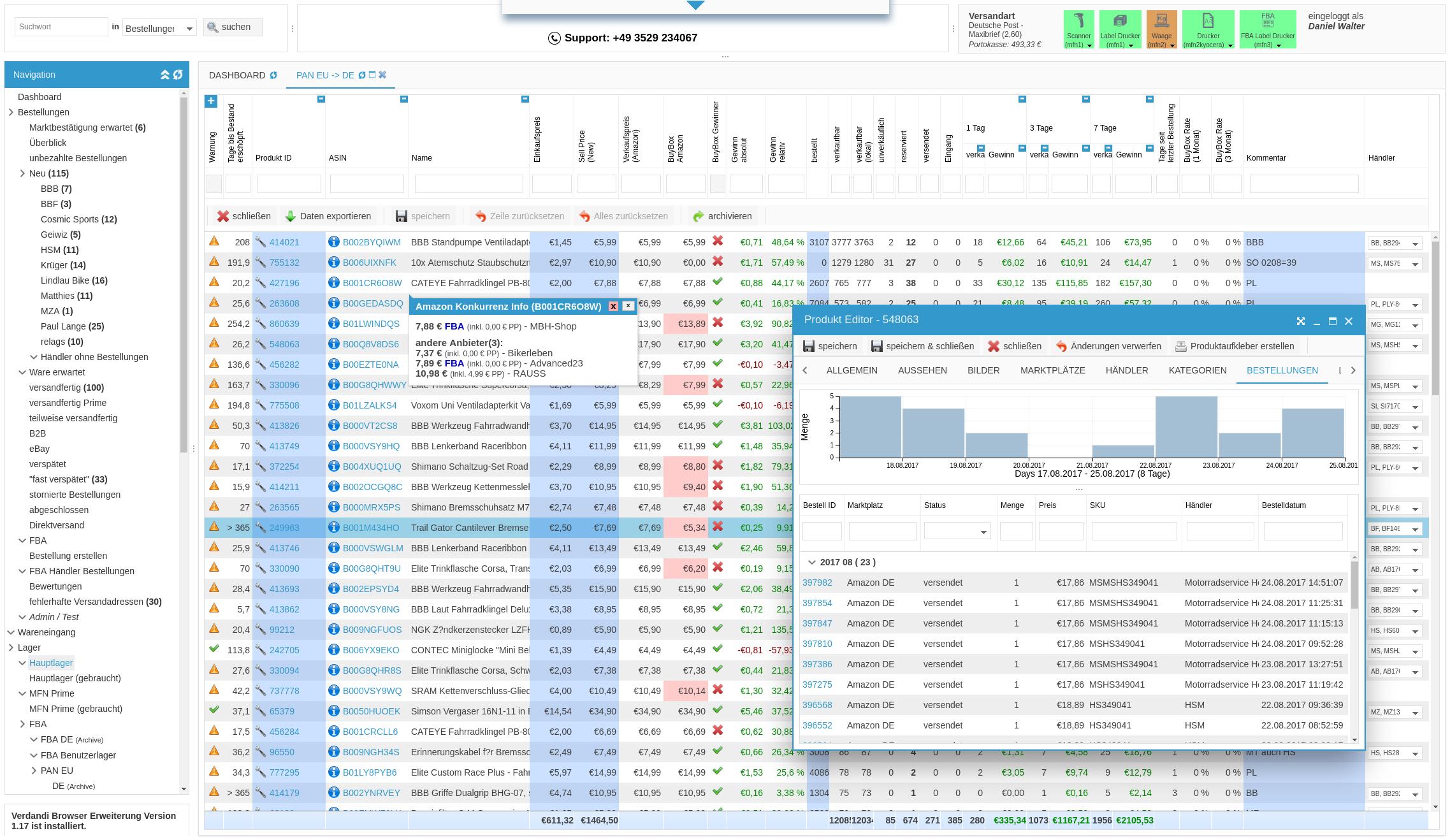 Verdandi Screenshot Prodkt Editor Preisentwicklung Konkurenten bei Amazon